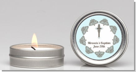 Cross Blue & Brown - Baptism / Christening Candle Favors
