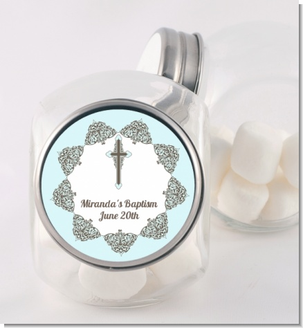 Cross Blue & Brown - Personalized Baptism / Christening Candy Jar
