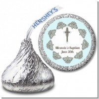 Cross Blue & Brown - Hershey Kiss Baptism / Christening Sticker Labels