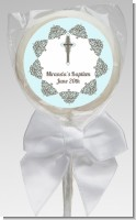 Cross Blue & Brown - Personalized Baptism / Christening Lollipop Favors