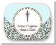Cross Blue & Brown - Personalized Baptism / Christening Rounded Corner Stickers thumbnail