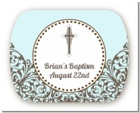 Cross Blue & Brown - Personalized Baptism / Christening Rounded Corner Stickers