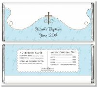 Cross Blue - Personalized Baptism / Christening Candy Bar Wrappers