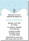 Cross Blue - Baptism / Christening Invitations