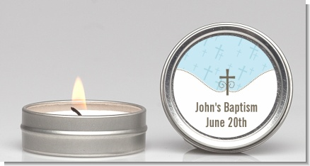 Cross Blue - Baptism / Christening Candle Favors