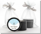 Cross Blue - Baptism / Christening Black Candle Tin Favors