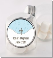 Cross Blue - Personalized Baptism / Christening Candy Jar