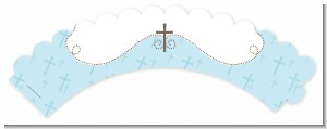 Cross Blue - Baptism / Christening Cupcake Wrappers