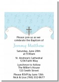 Cross Blue - Baptism / Christening Petite Invitations