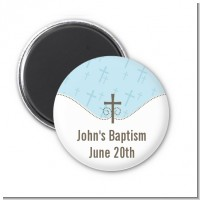 Cross Blue - Personalized Baptism / Christening Magnet Favors