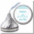 Cross Blue Necklace - Hershey Kiss Baptism / Christening Sticker Labels thumbnail