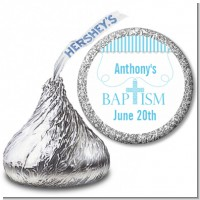 Cross Blue Necklace - Hershey Kiss Baptism / Christening Sticker Labels