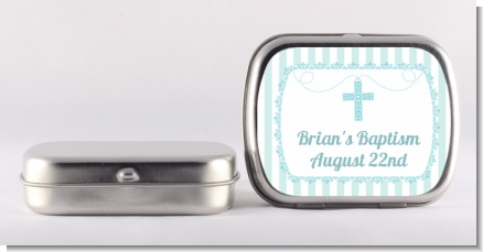 Cross Blue Necklace - Personalized Baptism / Christening Mint Tins