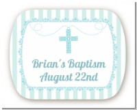 Cross Blue Necklace - Personalized Baptism / Christening Rounded Corner Stickers