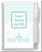 Cross Blue Necklace - Baptism / Christening Personalized Notebook Favor