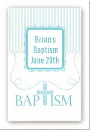 Cross Blue Necklace - Custom Large Rectangle Baptism / Christening Sticker/Labels