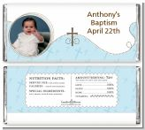 Cross Blue Photo - Personalized Baptism / Christening Candy Bar Wrappers