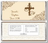 Cross Brown & Beige - Personalized Baptism / Christening Candy Bar Wrappers