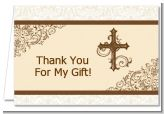 Cross Brown & Beige - Baptism / Christening Thank You Cards