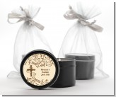 Cross Brown & Beige - Baptism / Christening Black Candle Tin Favors
