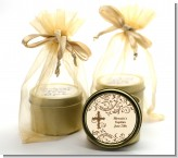 Cross Brown & Beige - Baptism / Christening Gold Tin Candle Favors