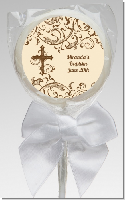 Cross Brown & Beige - Personalized Baptism / Christening Lollipop Favors