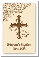 Cross Brown & Beige - Custom Large Rectangle Baptism / Christening Sticker/Labels