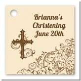 Cross Brown & Beige - Personalized Baptism / Christening Card Stock Favor Tags