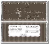 Cross Brown Necklace - Personalized Baptism / Christening Candy Bar Wrappers