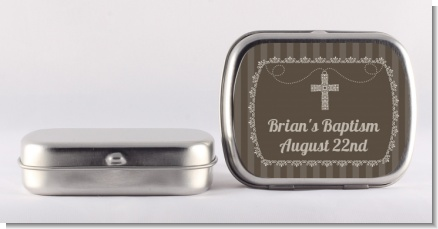 Cross Brown Necklace - Personalized Baptism / Christening Mint Tins