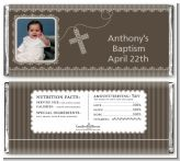 Cross Brown Necklace Photo - Personalized Baptism / Christening Candy Bar Wrappers