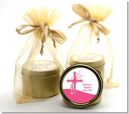 Cross Cherry Blossom - Baptism / Christening Gold Tin Candle Favors
