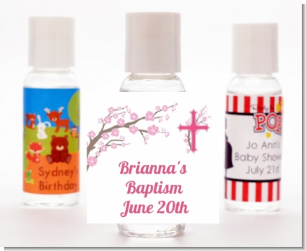 Cross Cherry Blossom - Personalized Baptism / Christening Hand Sanitizers Favors