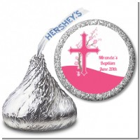 Cross Cherry Blossom - Hershey Kiss Baptism / Christening Sticker Labels