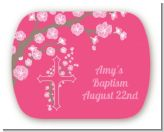 Cross Cherry Blossom - Personalized Baptism / Christening Rounded Corner Stickers