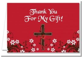 Cross Floral Blossom - Baptism / Christening Thank You Cards