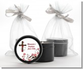 Cross Floral Blossom - Baptism / Christening Black Candle Tin Favors