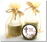 Cross Floral Blossom - Baptism / Christening Gold Tin Candle Favors