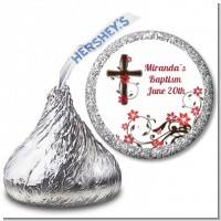 Cross Floral Blossom - Hershey Kiss Baptism / Christening Sticker Labels