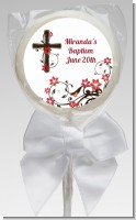 Cross Floral Blossom - Personalized Baptism / Christening Lollipop Favors