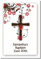 Cross Floral Blossom - Custom Large Rectangle Baptism / Christening Sticker/Labels