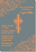 Cross Grey & Orange - Baptism / Christening Invitations