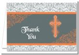 Cross Grey & Orange - Baptism / Christening Thank You Cards