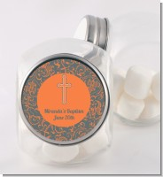 Cross Grey & Orange - Personalized Baptism / Christening Candy Jar