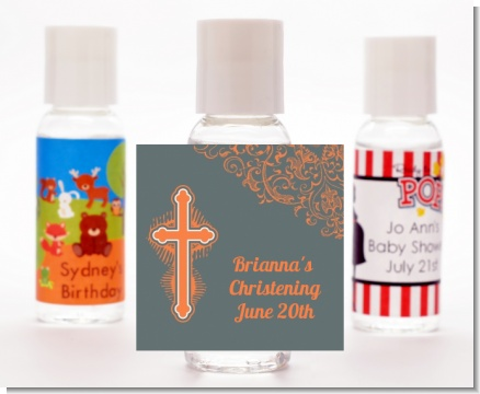Cross Grey & Orange - Personalized Baptism / Christening Hand Sanitizers Favors