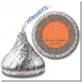 Cross Grey & Orange - Hershey Kiss Baptism / Christening Sticker Labels