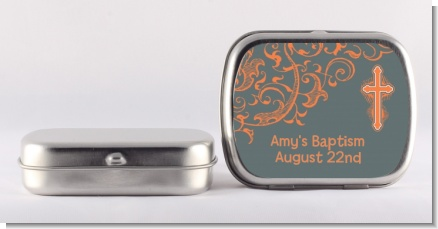 Cross Grey & Orange - Personalized Baptism / Christening Mint Tins