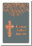 Cross Grey & Orange - Custom Large Rectangle Baptism / Christening Sticker/Labels