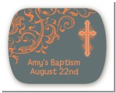 Cross Grey & Orange - Personalized Baptism / Christening Rounded Corner Stickers