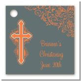 Cross Grey & Orange - Personalized Baptism / Christening Card Stock Favor Tags